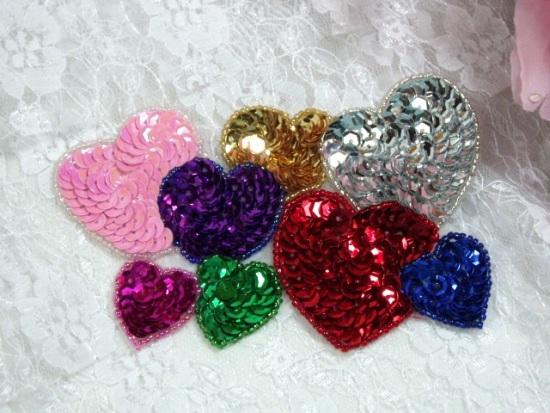 Sequin beaded applique hearts