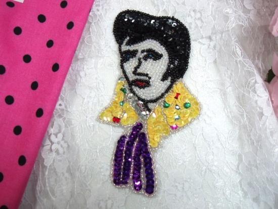Elvis Presley 5 Sequin Beaded Applique 0156