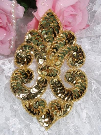 Gold Designer 4.5\ Sequin Beaded Applique 0168