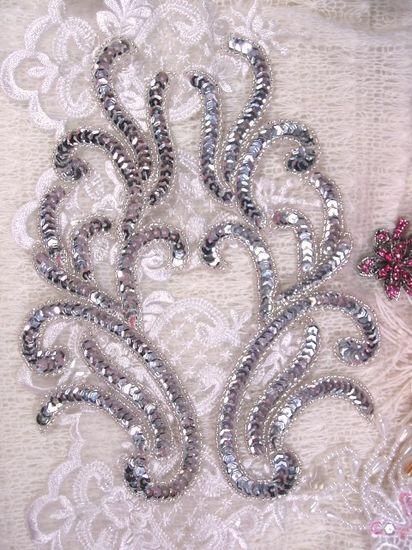 0511 Silver Mirror Pair Sequin Beaded Appliques 9
