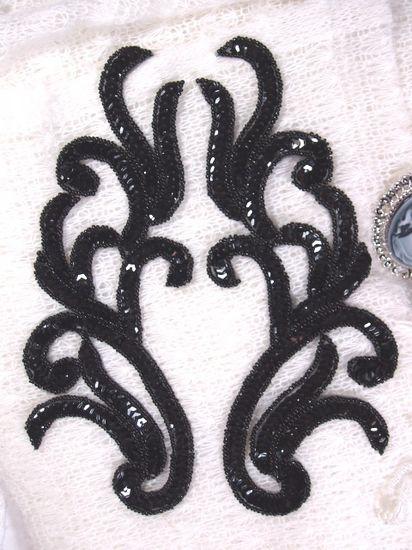 Sequin Appliques Black Mirror Pair Beaded Dance Costume Motifs 9 XR392X