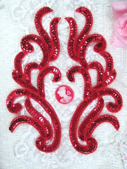 Red Mirror Pair Sequin Beaded Appliques 9 XR392X