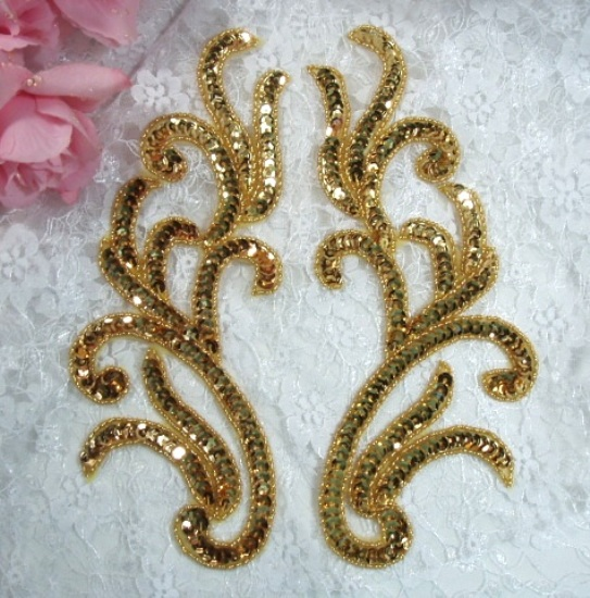 0170 Gold Mirror Pair Sequin Beaded Appliques 9