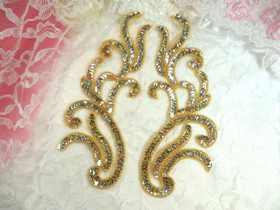 Appliques Gold Holographic Sequin Mirror Pair Beaded Motifs 9 (0170X)