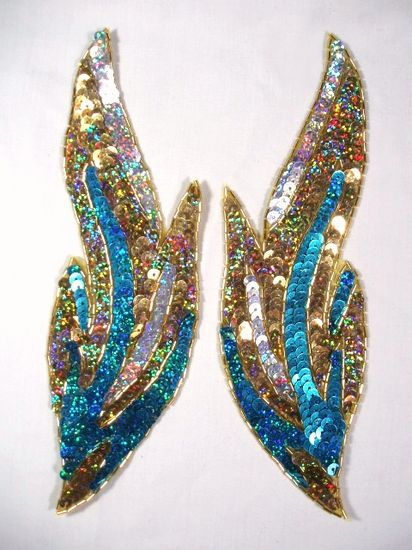 0173 Turquoise Flames of Fire Mirror Pair Sequin Beaded Appliques 9.5\