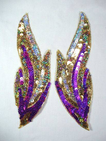 0173 Purple Flames of Fire Mirror Pair  Sequin Beaded Appliques 9.5