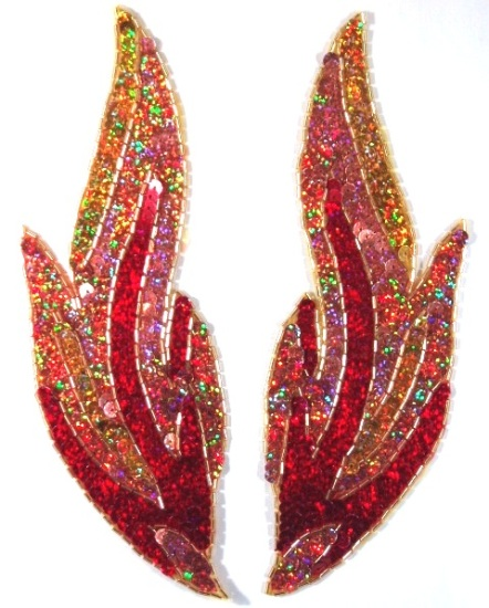 Sequin Beaded Applique Flames Fire