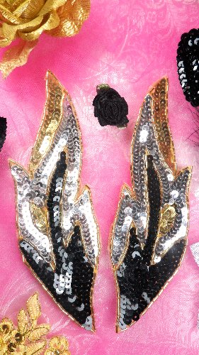 0174  Black Silver Gold Flame Mirror Pair Sequin Beaded Appliques 7