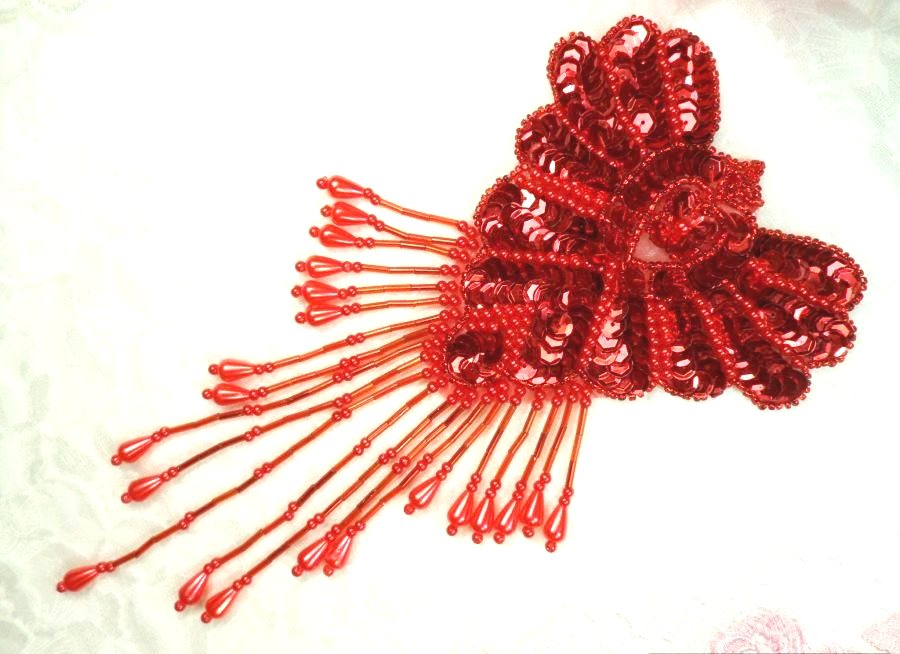 Epaulet Sequin Applique w/ long Dangle Accent Beads Red Sewing Patch 8 (0178)