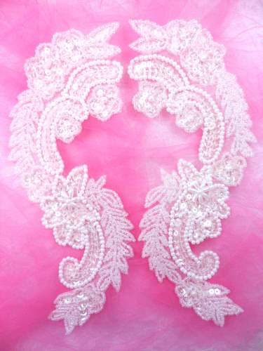 0180 Appliques Crystal Mirror Pair Sequin Beaded 8.25