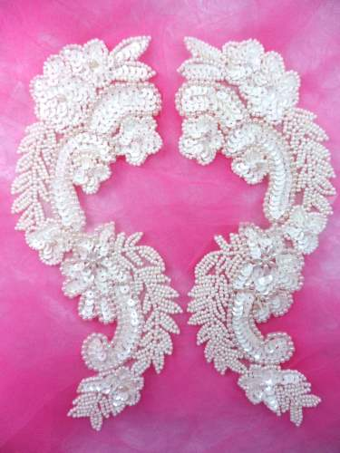 0180 Appliques Ivory Mirror Pair Sequin Beaded 8.25