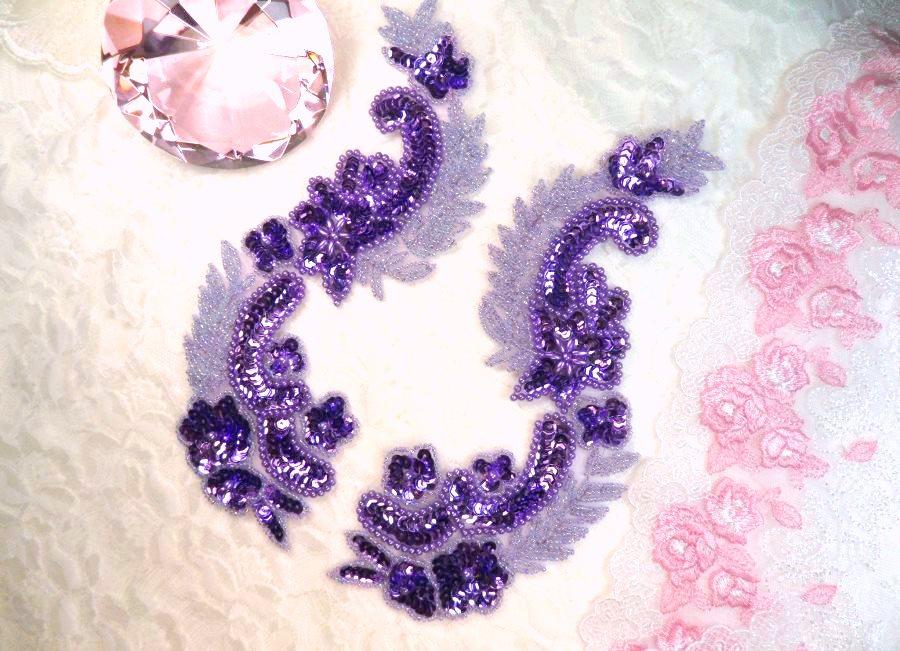 Lavender Metallic Sequin Dance Appliques w/ Beads Mirror Pair Sewing Motifs 8 (0180X)