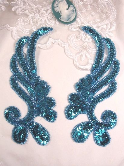 0182 Turquoise Mirror Pair Sequin Beaded Appliques 6\