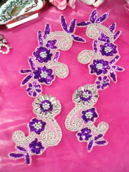 Purple and Silver Mirror Pair Sequin Beaded Appliques 0183