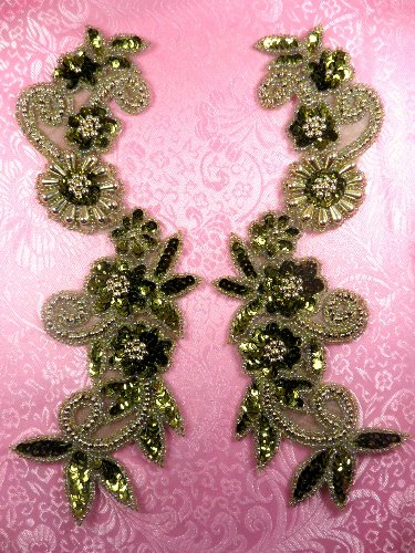 REDUCED RM0183 Mirror Pair Sequin Beaded Appliques Olive Gold 10