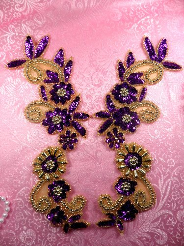 0183 Purple and Gold Mirror Pair Sequin Beaded Appliques 10