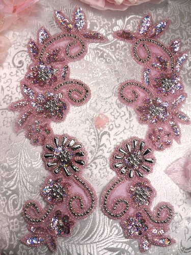 0183 Appliques Mirror Pair Sequin Beaded Mauve Holographic Silver 10