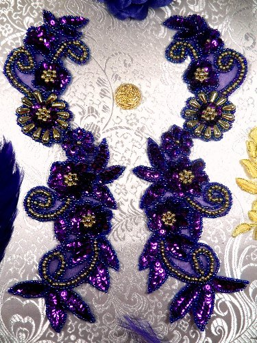 0123 ~ FUCHSIA MIRROR PAIR SEQUIN BEADED APPLIQUES
