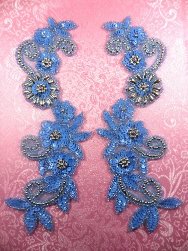 Appliques Sequin Beaded Pastel Blue Silver Mirror Pair 10 0183X