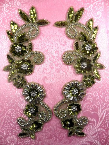 0183 Appliques Mirror Pair Sequin Beaded Olive Silver 10