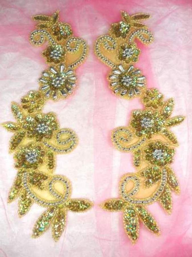 0183 Appliques Mirror Pair Holographic Sequin Beaded Gold Silver 10