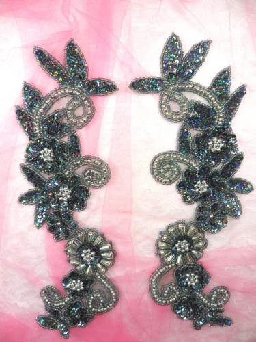 0183 Appliques Mirror Pair Sequin Beaded Gunmetal Holographic Silver 10