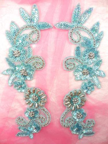 0183 Appliques Mirror Pair Sequin Beaded Misty Blue Holographic Silver 10