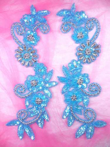 0183 Appliques Mirror Pair Sequin Beaded Crystal Turquoise AB Silver 10