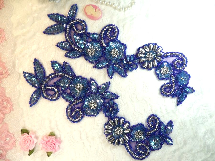 Appliques Sequin Beaded Blue Purple AB Mirror Pair Holographic Silver Accents 10 (0183X)