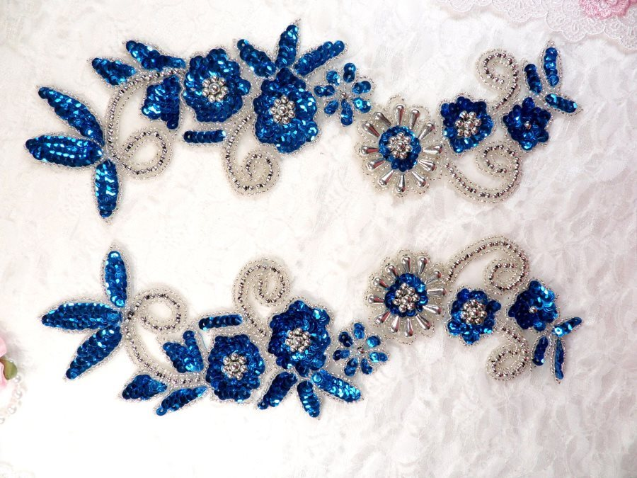 Mirror Pair Applique Deep Turquoise Silver Floral Sequin Beaded Patch 10 (0183X)