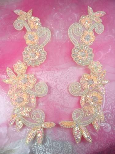 0183 Sequin Appliques Peach Floral Beaded Aurora Borealis Mirror Pair Dance Patch 10