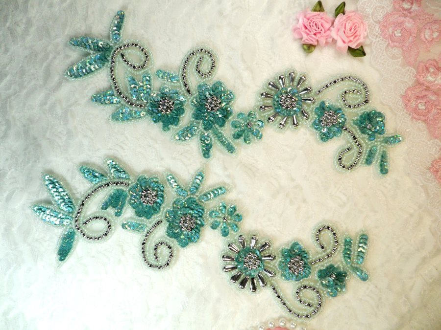 Appliques Sequin Beaded Seafoam AB Mirror Pair Holographic Silver Accents 10 (0183X)