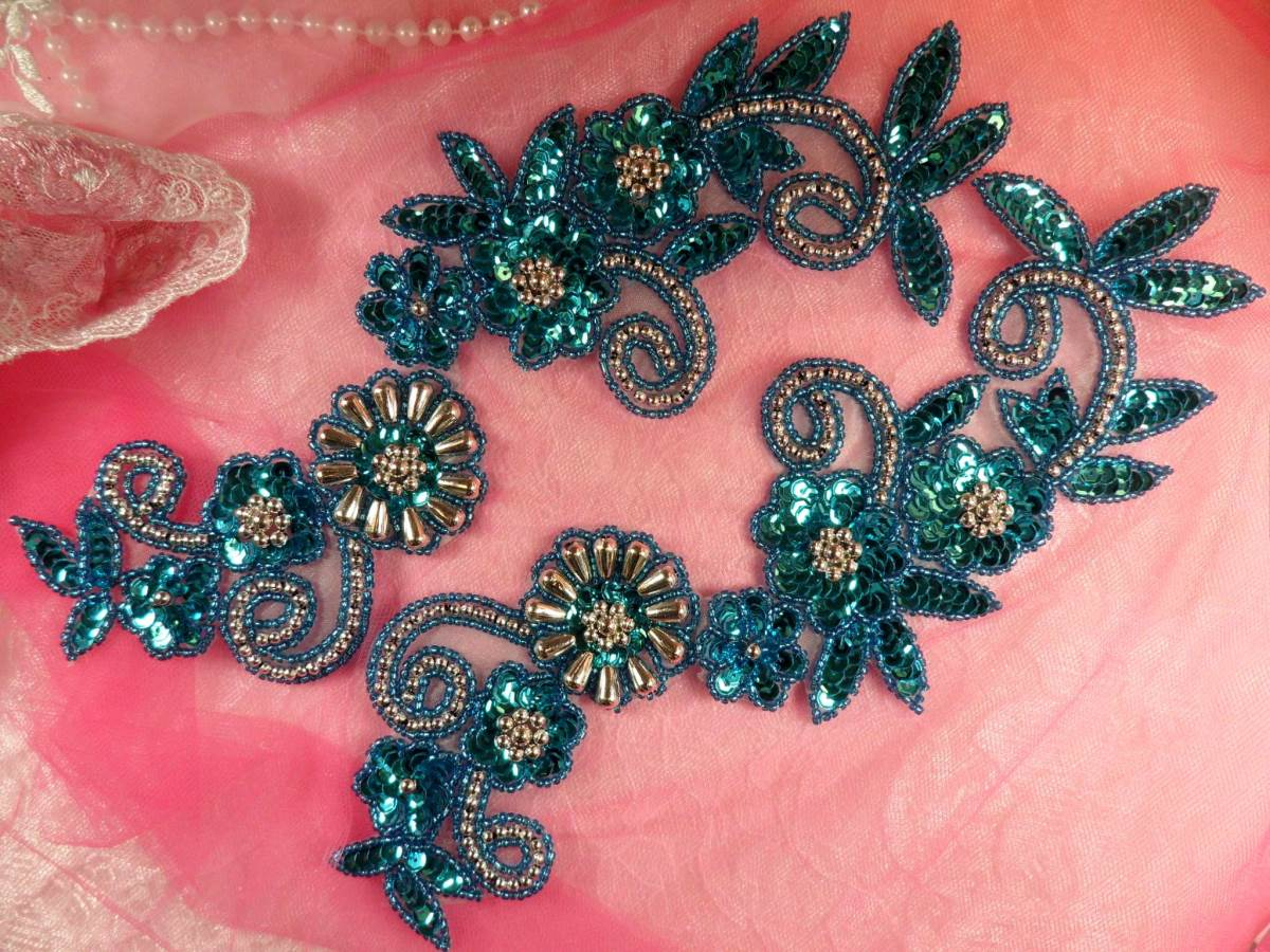 Sequin appliques turquoise silver beaded accents mirror pair