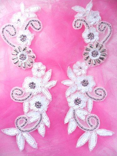 0183 White Sequin Mirror Pair Silver Beaded Floral Vine Appliques Motifs 10