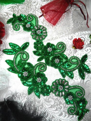 0183 Green Silver Floral Mirror Pair Beaded Sequin Appliques 10