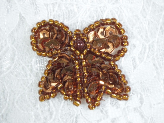 0185  Brown Bronze Bow Sequin Beaded Applique 1.25