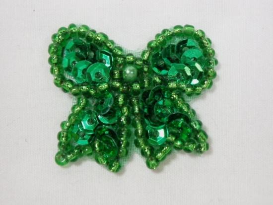 0185  Green Bow Sequin Beaded Applique 1.25