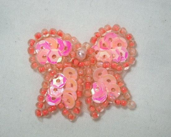 0185  Peach AB Bow Sequin Beaded Applique 1.25