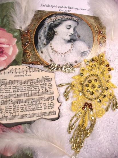 0204 Gold Venise Lace Sequin Beaded Applique 7.5