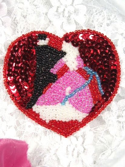 0210  Victorian Heart Beaded Sequin  Applique 2.75