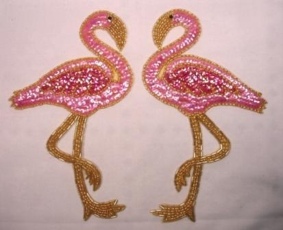 0219  Pink Flamingo Mirror Pair Sequin Beaded Appliques 7.75