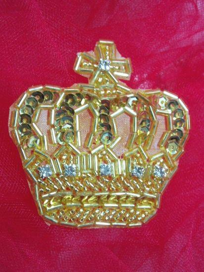 0222  Gold Rhinestone Crown Beaded Sequin Applique 2.5\