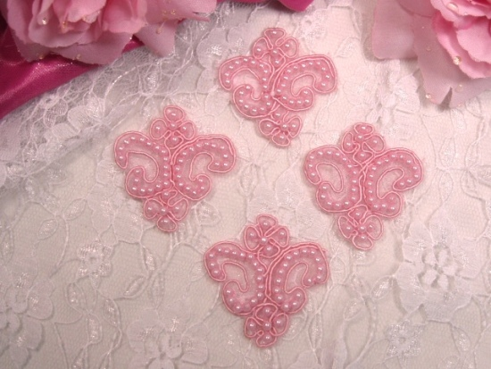 A0227  Set of 4 Pink Beaded Victorain Appliques 1.75
