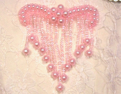 A0229 Elegant Pink Beaded Victorain  Applique 3\