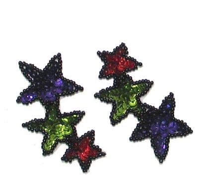 E022S (Set of 2) Multicolor Cascading Star Sequin Appliques 2.5