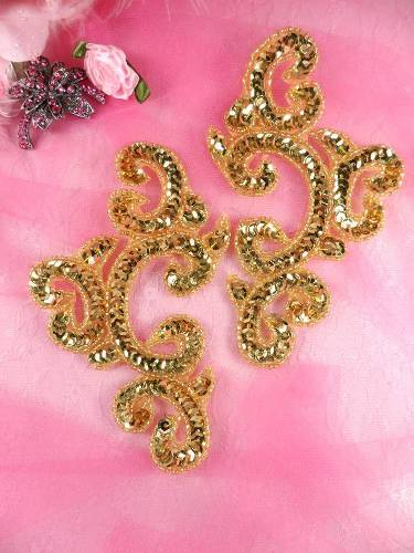 Appliques Sequin Gold Mirror Pair Beaded Clothing Patch 6 JB275