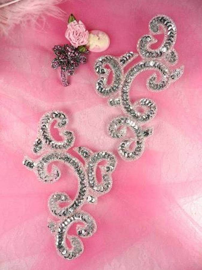 Sequin Appliques Silver Mirror Pair Sewing Patch Motifs 6 JB275X
