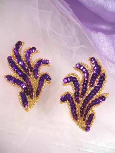 0244 Purple Gold Mirror Pair Sequin Beaded Appliques 3