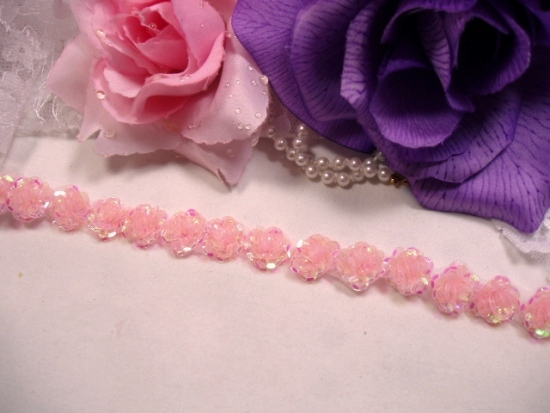 0248  Pink Sequin Floral Trim 1/2\