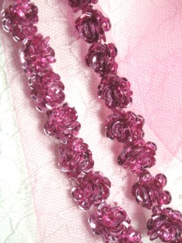 0248  Mauve Sequin Floral Trim 1/2\